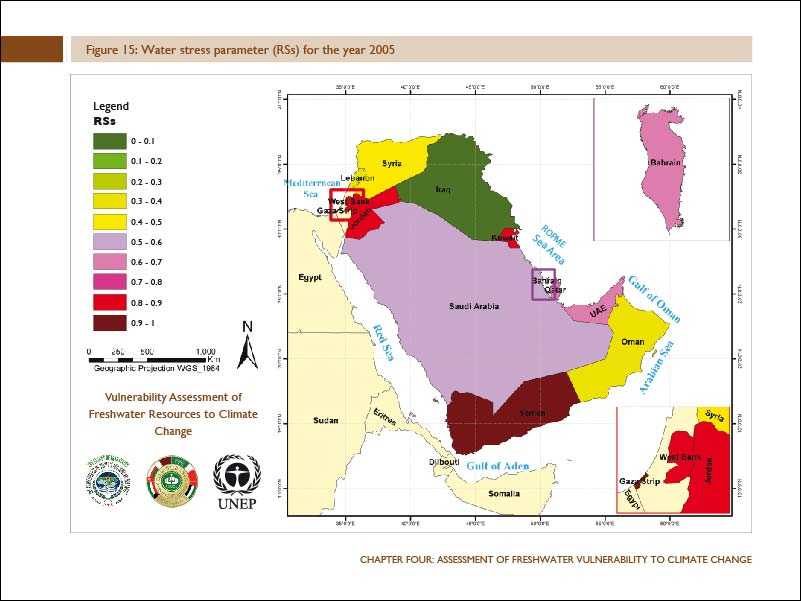 Rainfall distribution in west asia shared groundwater aquifers in the water stress parameter rss for the year 2005 gumiabroncs Choice Image